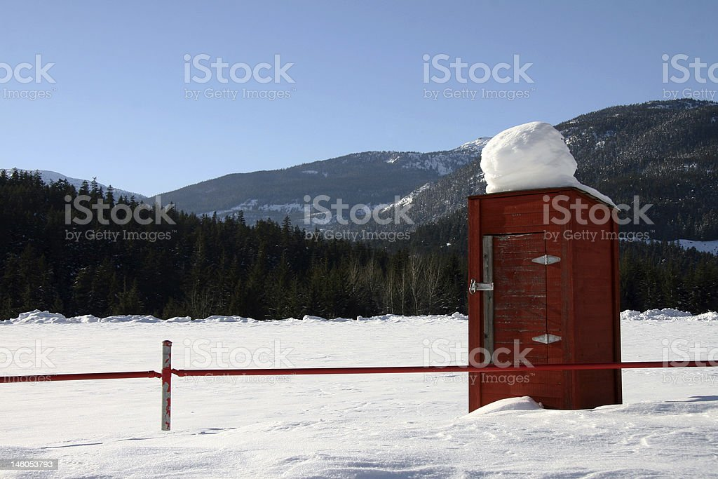 Red Maintenance Shed stock photo