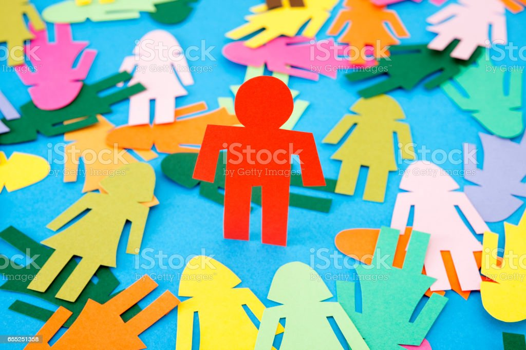 Red man standing stock photo