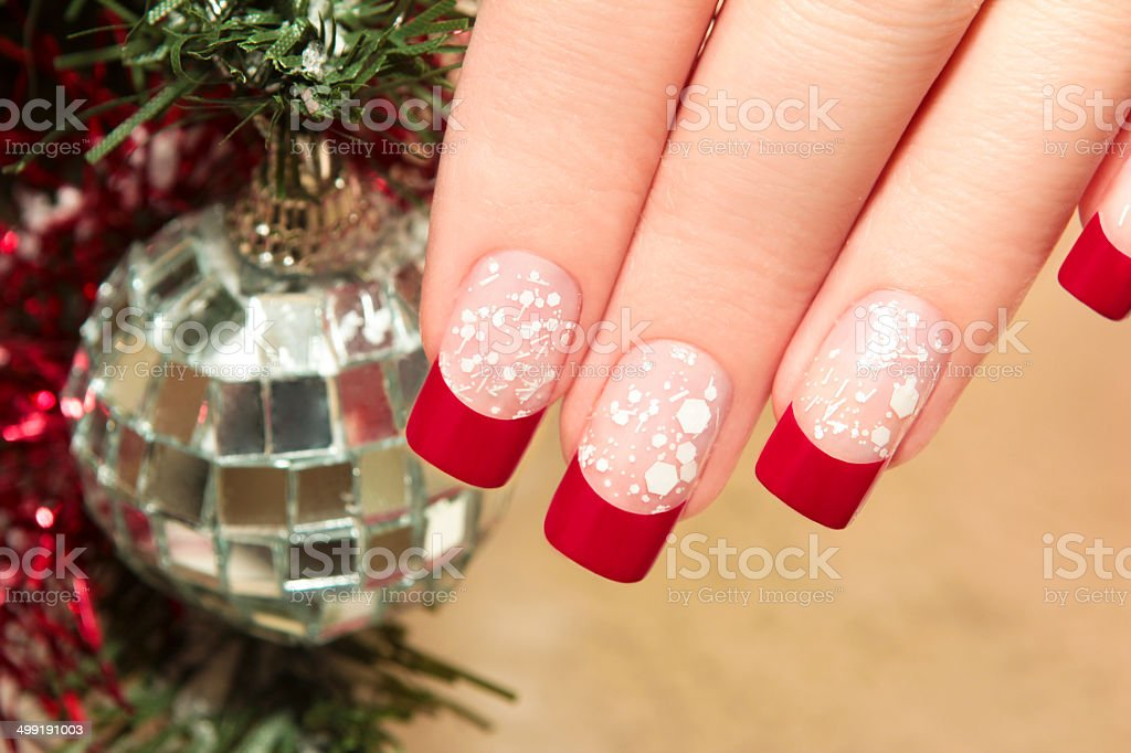 Red manicure. stock photo