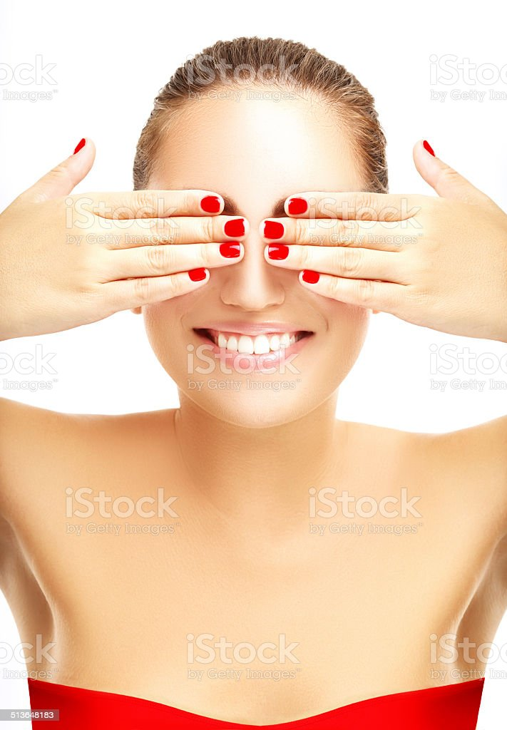 Red manicure stock photo