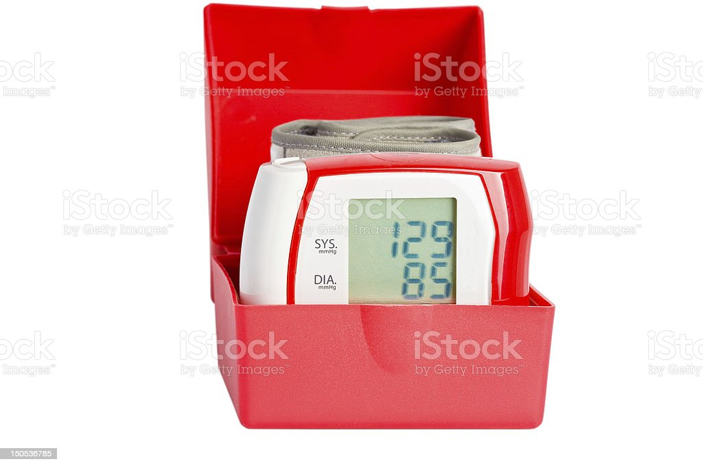 Red manometer in a box royalty-free stock photo