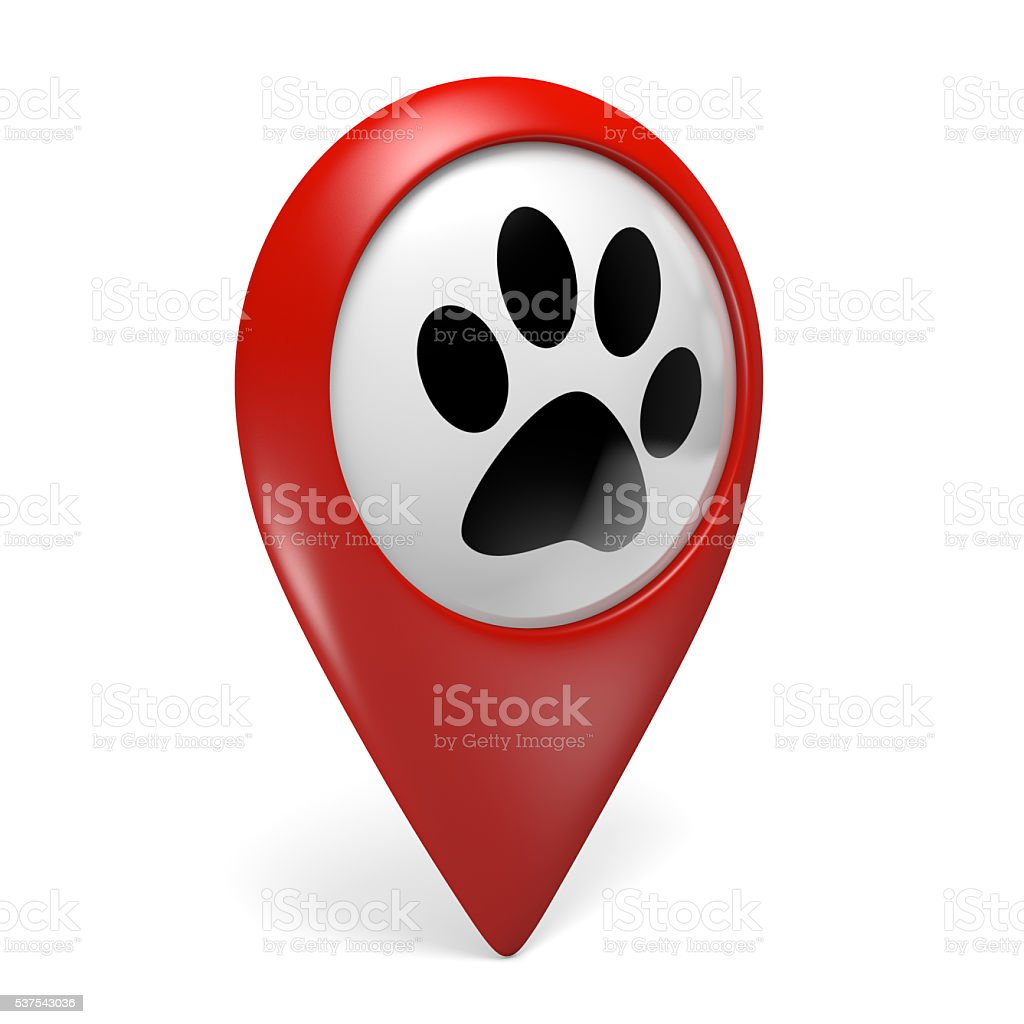 Red map pointer icon with paw symbol for pet services stock photo