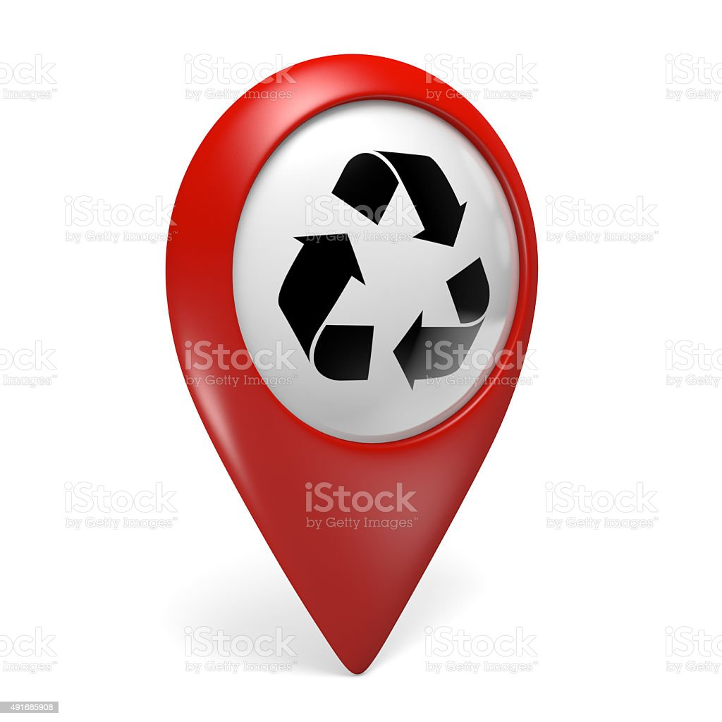 3D red map pointer icon with recycling symbol for renewables stock photo