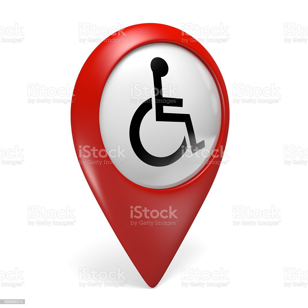 Red map pointer icon with wheelchair symbol for handicapped persons stock photo