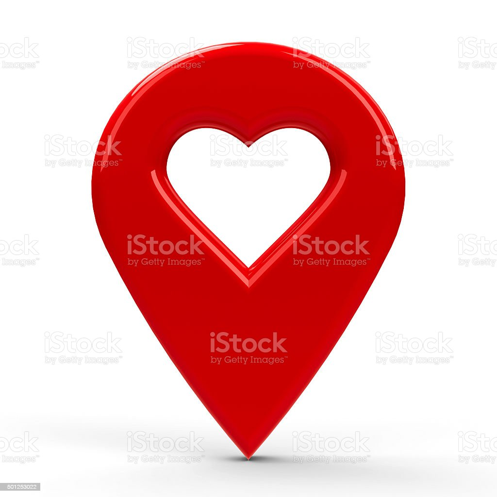 Red map pointer with heart stock photo