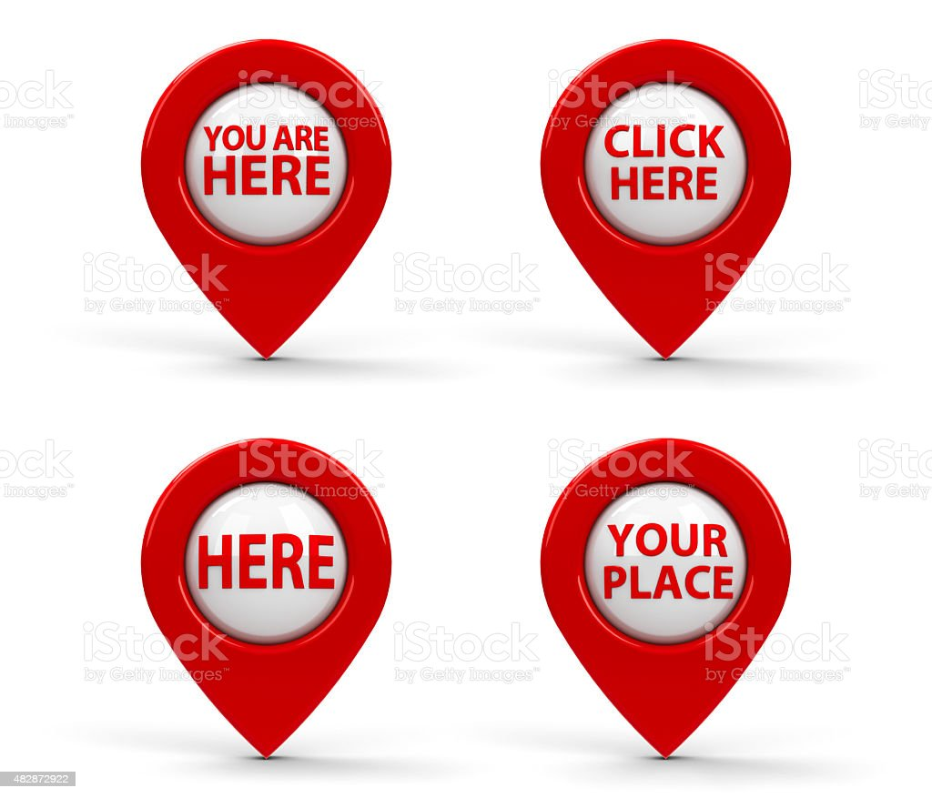 Red map pointers with text stock photo