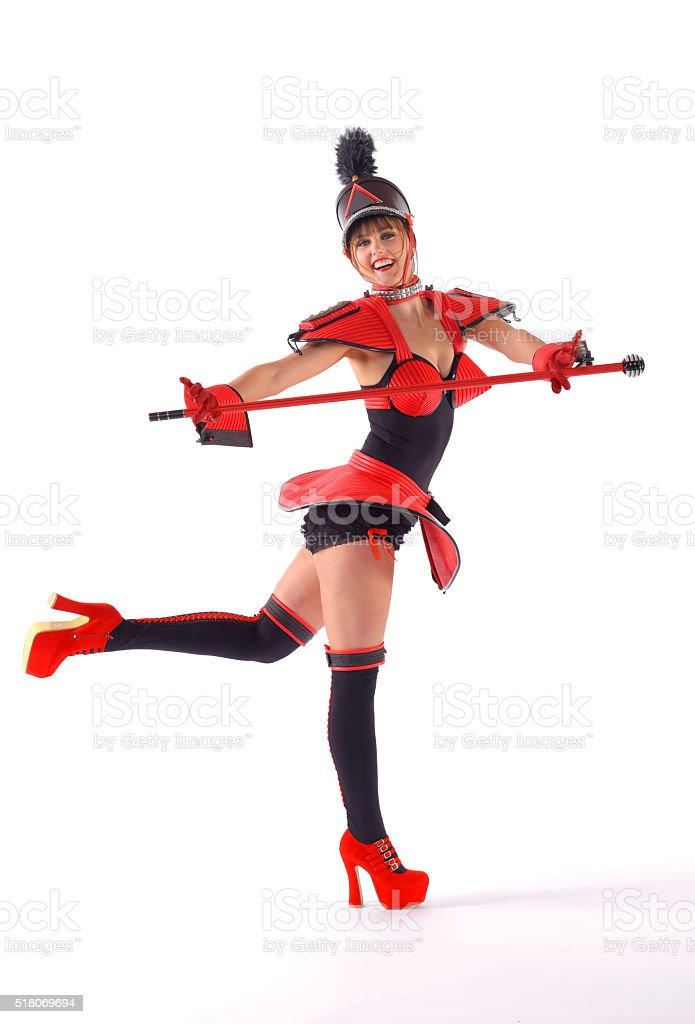 Red Marching Girl seven stock photo