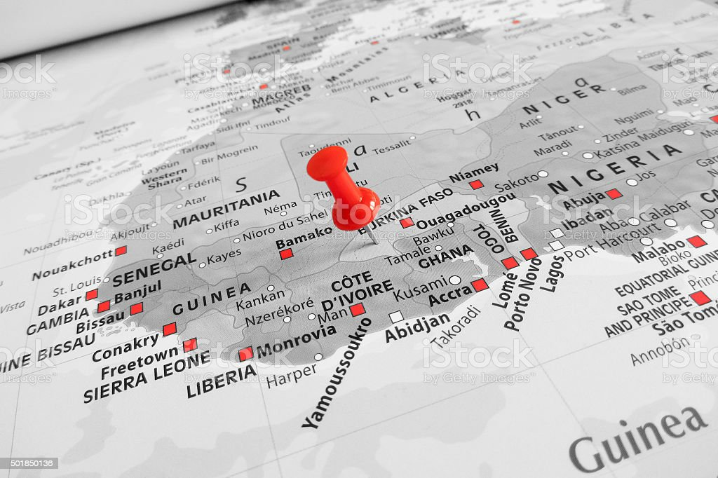 Red marker over Burkina Faso stock photo