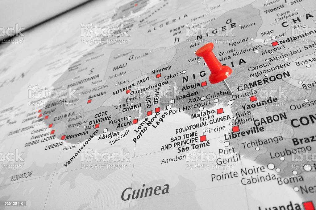 Red marker over Cameroon stock photo