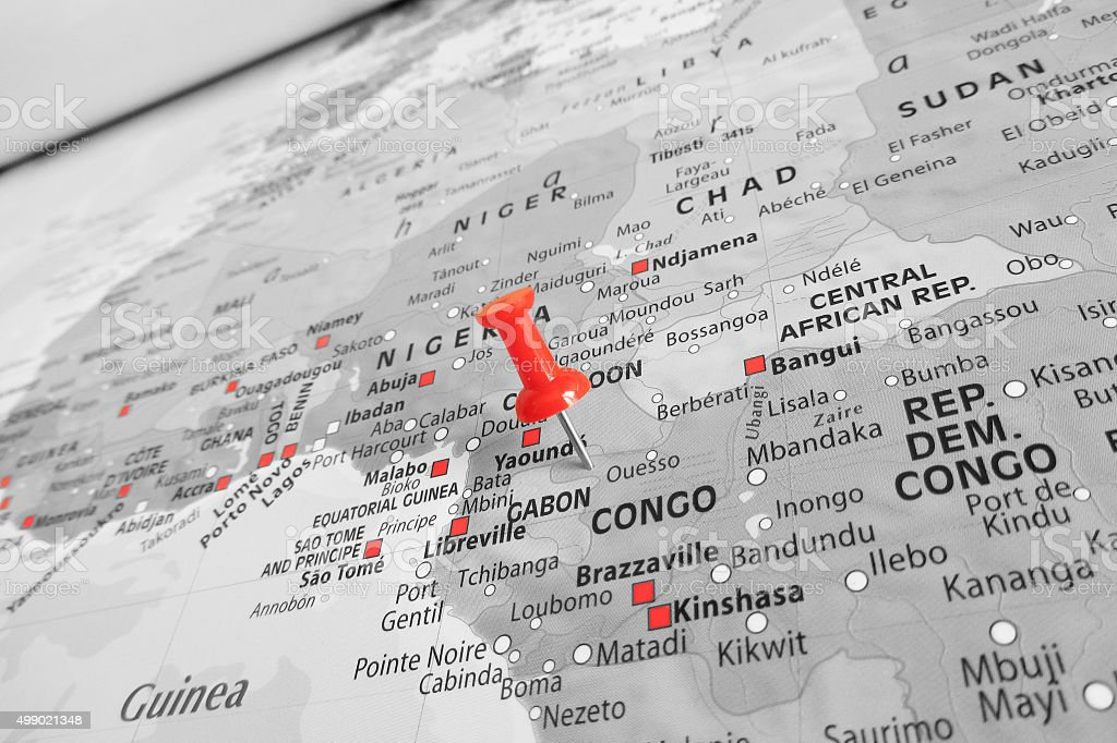 Red marker over Congo stock photo