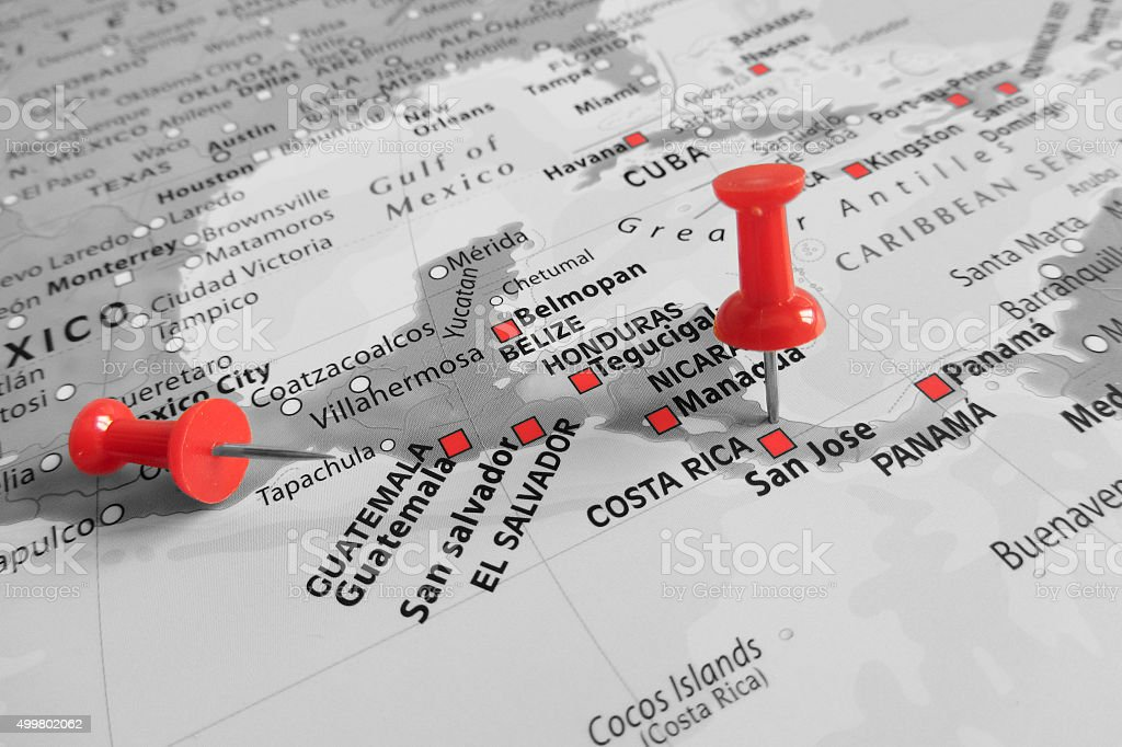 Red marker over Costa Rica stock photo