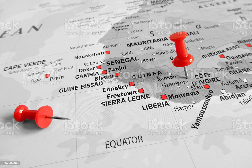 Red marker over Cote d'Ivoire stock photo