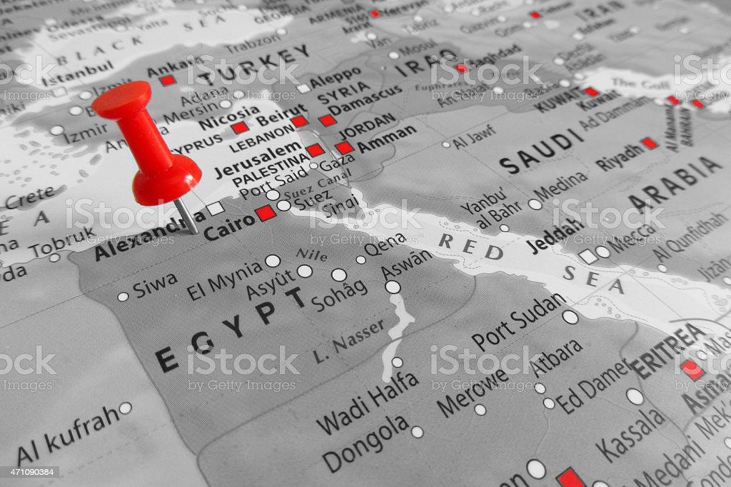 Red marker over Egypt stock photo