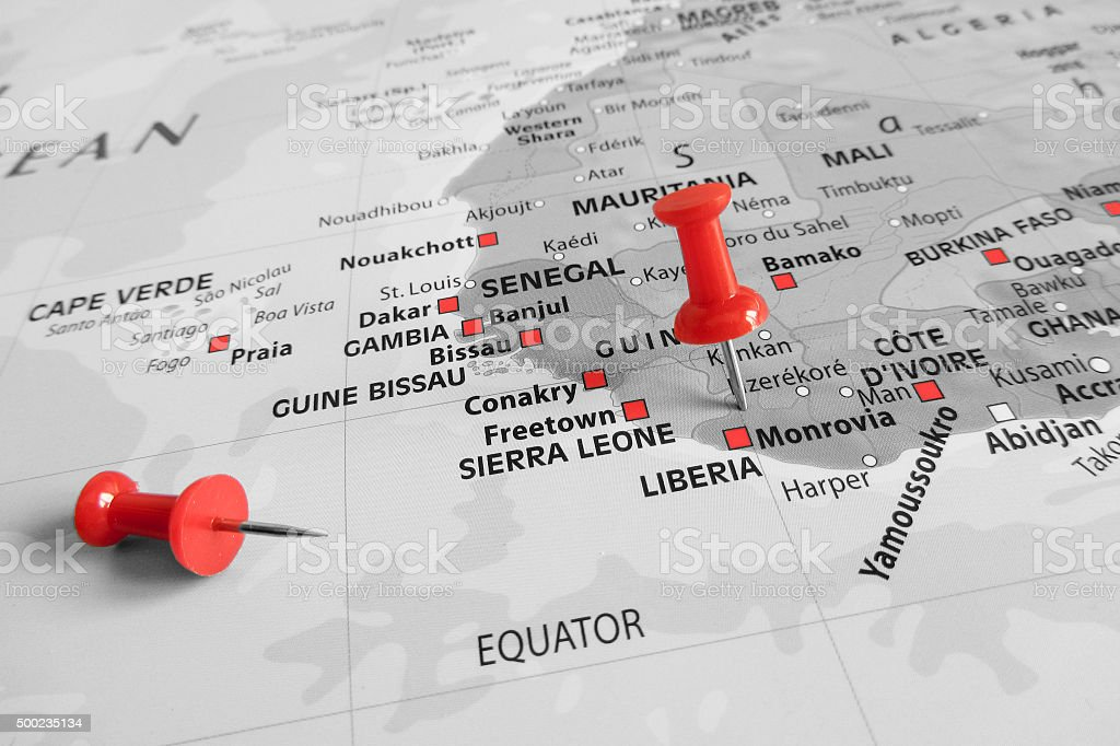 Red marker over Liberia stock photo