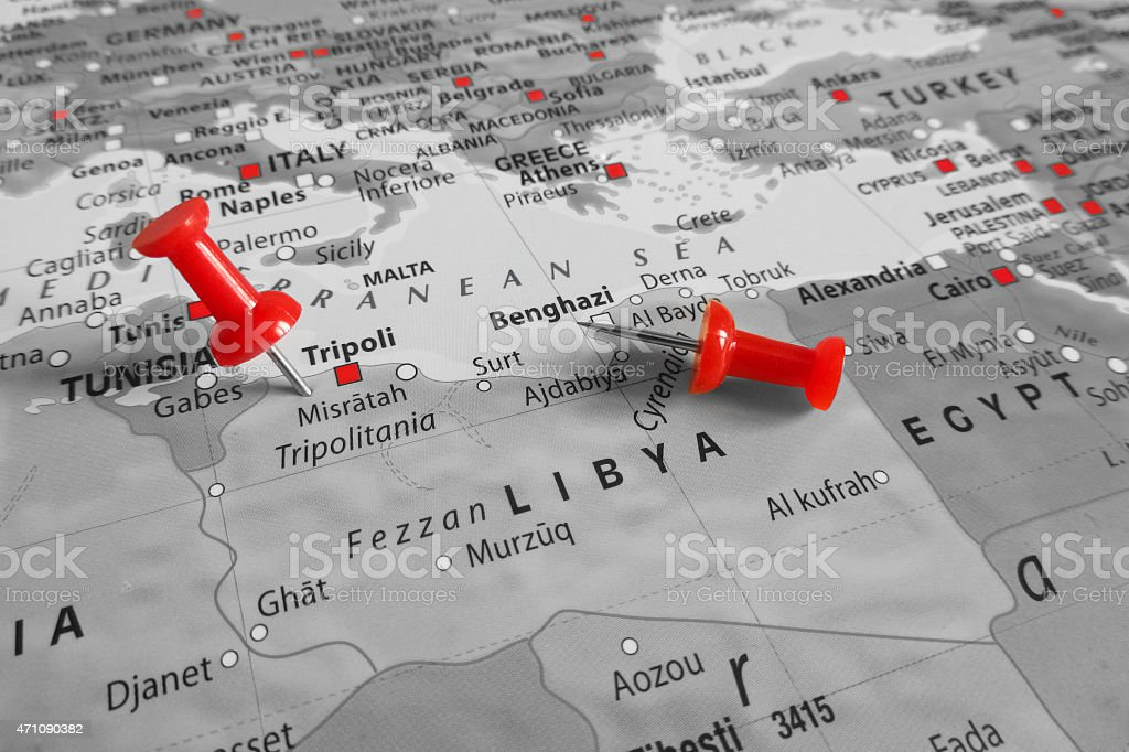 Red marker over Libya stock photo