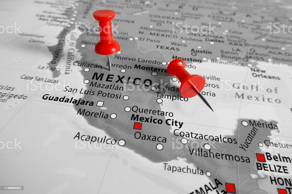 Red marker over Mexico stock photo