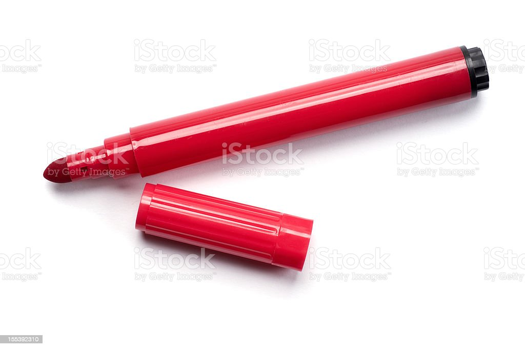Red Marker Pen Isolated on White stock photo