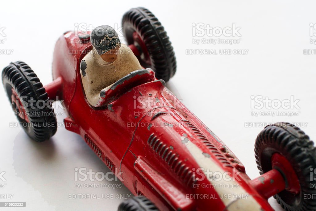 Red Maserati racing car Dinky Toys 23N 1953 stock photo