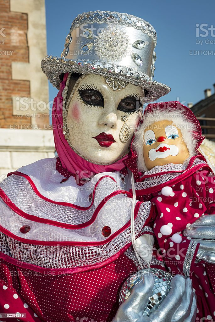 Red Mask and Clown Puppet at Arsenale, Venice, Italy, Europe stock photo