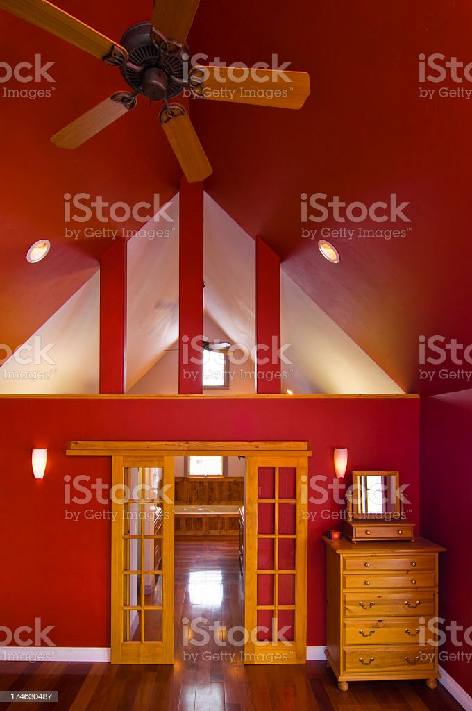 Red Master Bedroom royalty-free stock photo