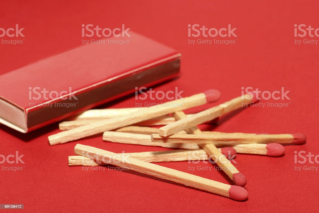 Red matches with box royalty-free stock photo