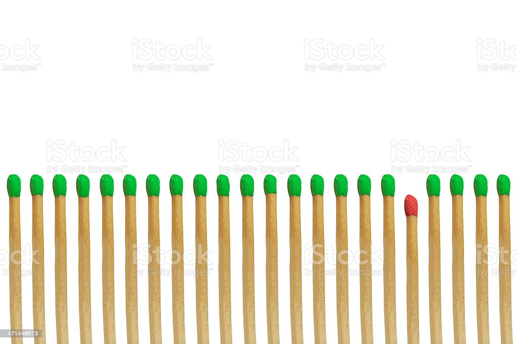 Red matchstick loser concept isolated on white background royalty-free stock photo