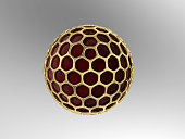 Red material nanoparticle with gold mesh