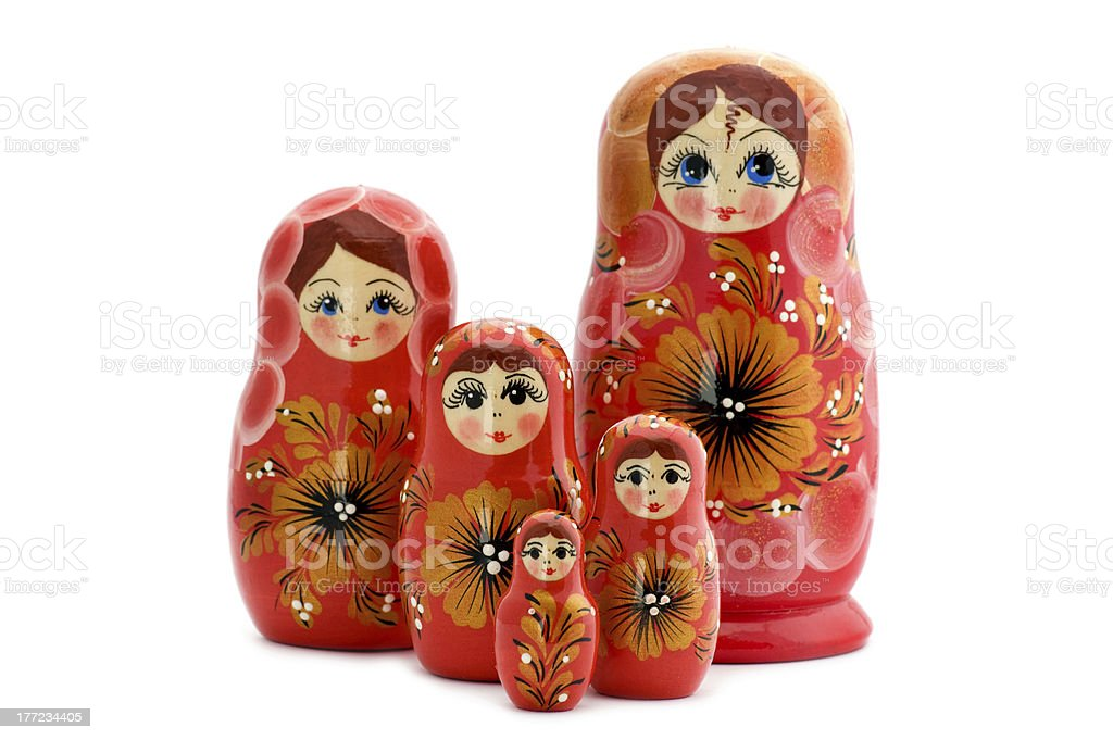 Red matrioshka close up stock photo