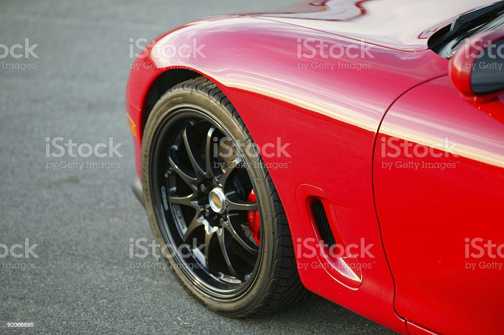 Red Mazda RX7 Sports car front wheel stock photo