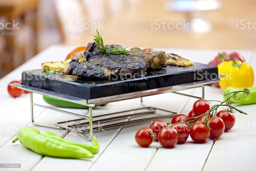 Red Meat and vegetables stock photo