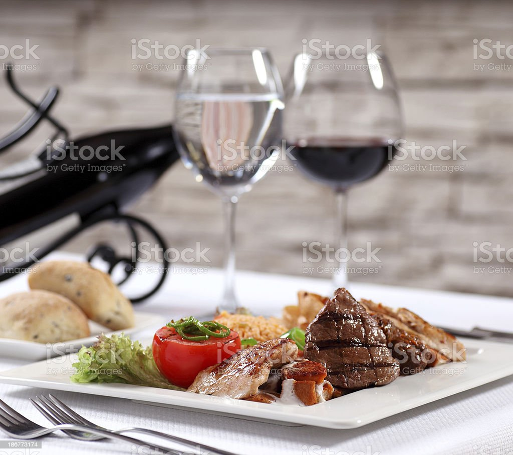 Red Meat and Wine for Lunch royalty-free stock photo