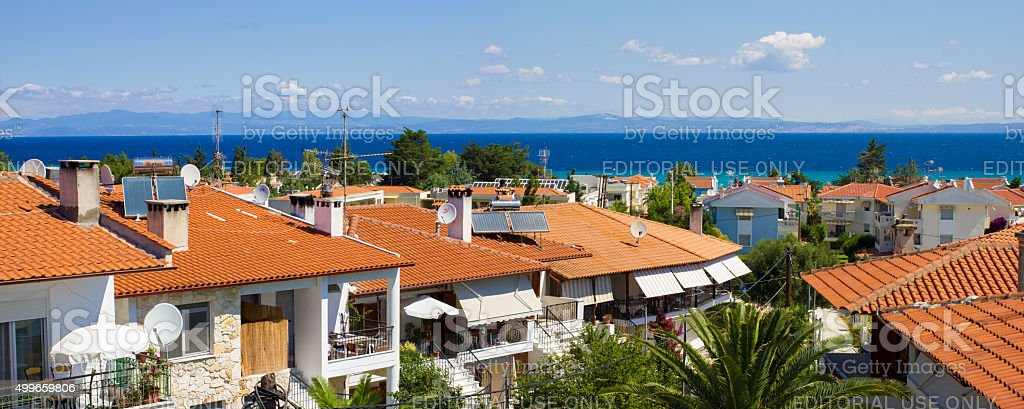 Red mediterranean roofs stock photo