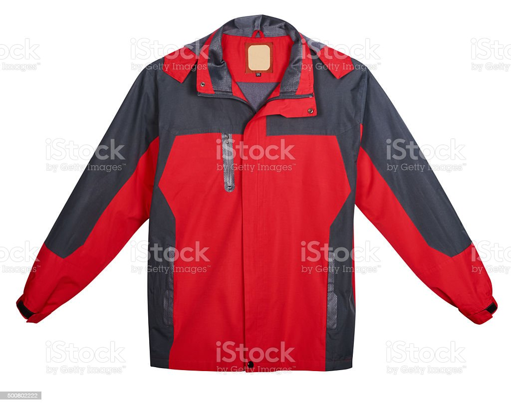 Red men's jacket outdoors. Isolated on white background stock photo