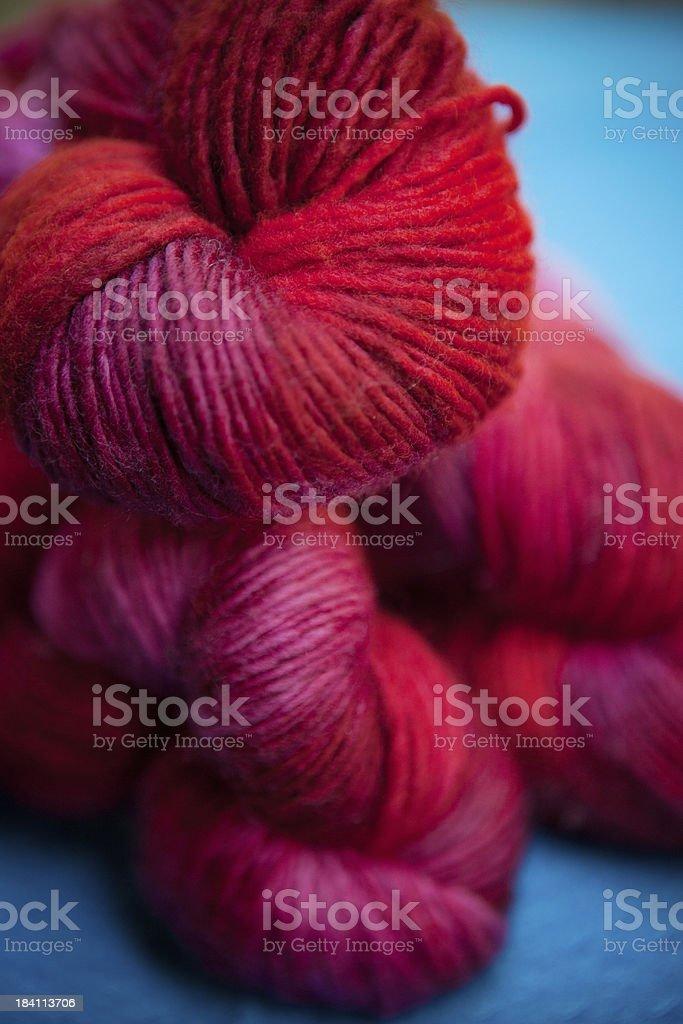 Red Merino Wool Yarn stock photo