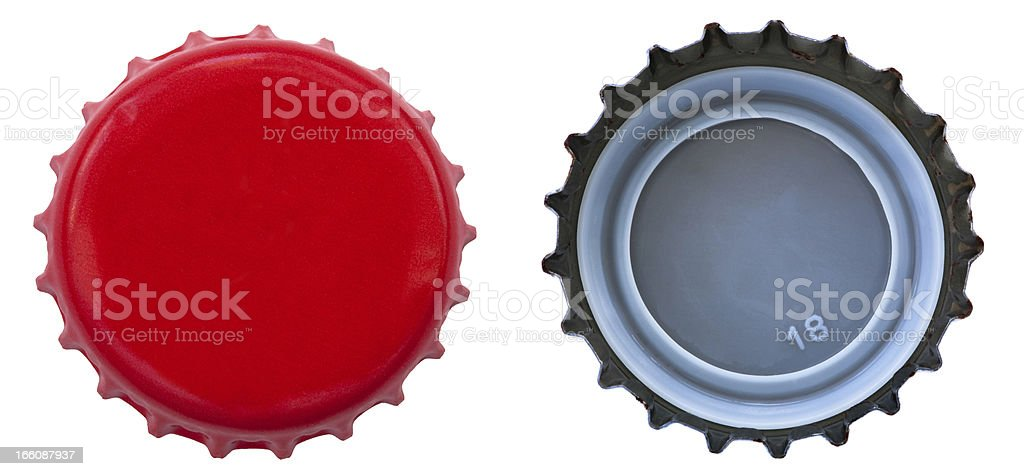 Red Metal Bottle Cap - Both Sides stock photo