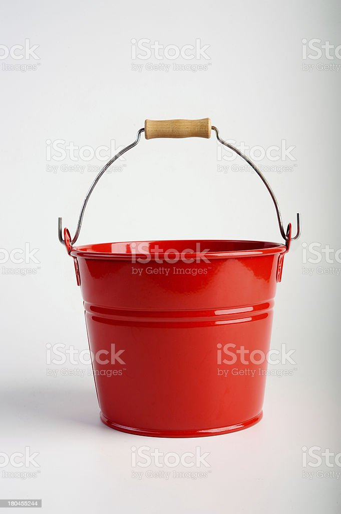 Red Metal Bucket - Isolated royalty-free stock photo