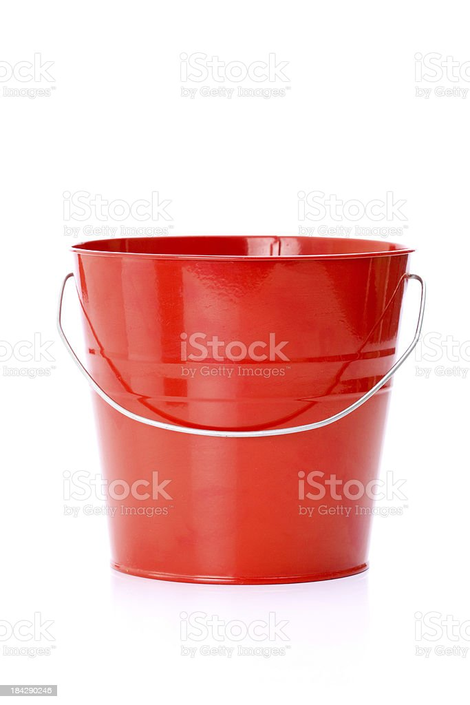 Red metal bucket with aluminum stock photo
