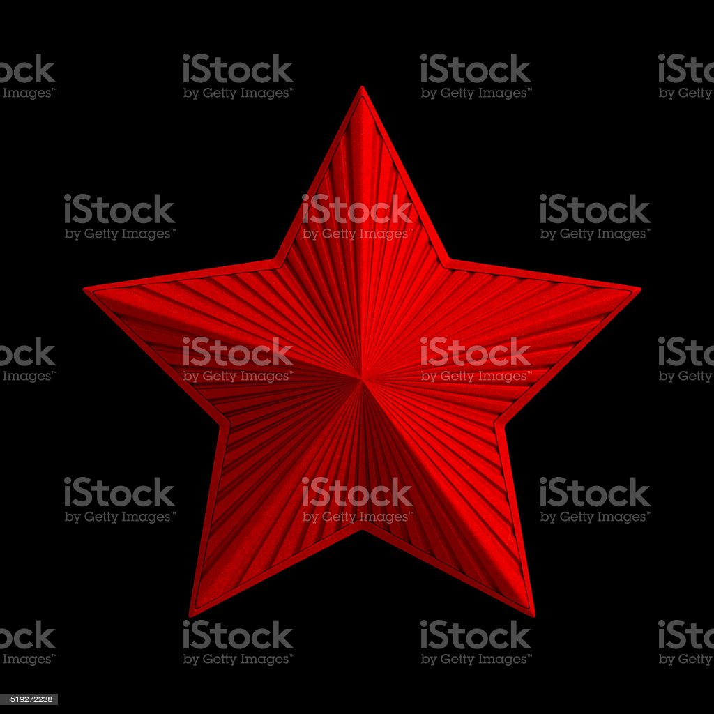 Red metal classic radiate star with bright sparkles (decoration element) stock photo