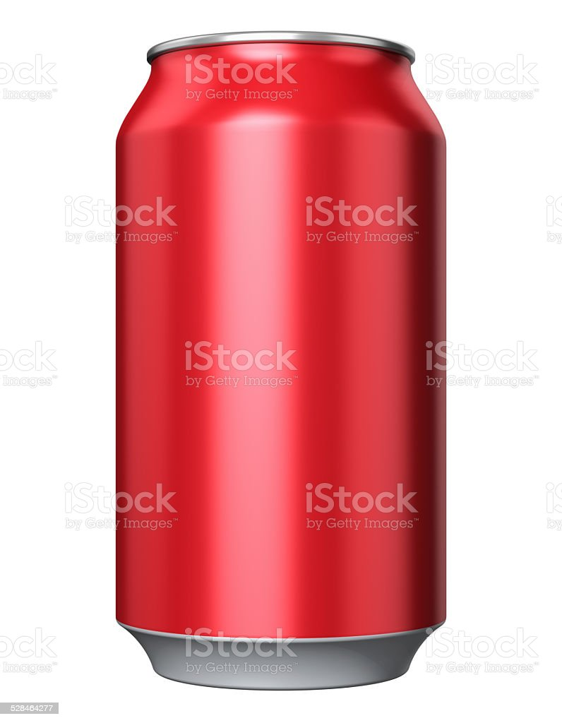 Red metal drink can stock photo