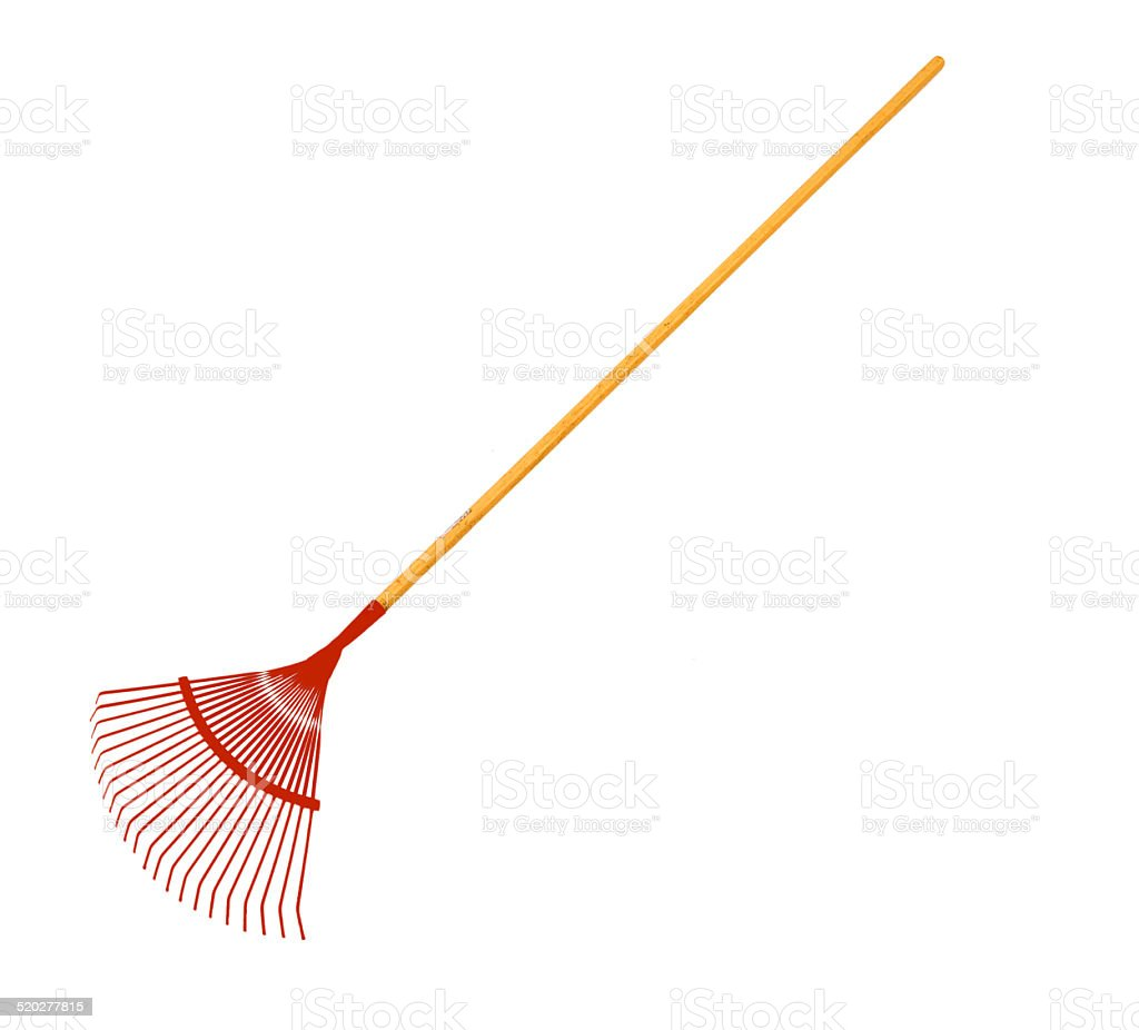 Red Metal Leaf Rake With Clipping path stock photo