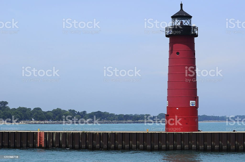 Red Metal Lighthouse stock photo