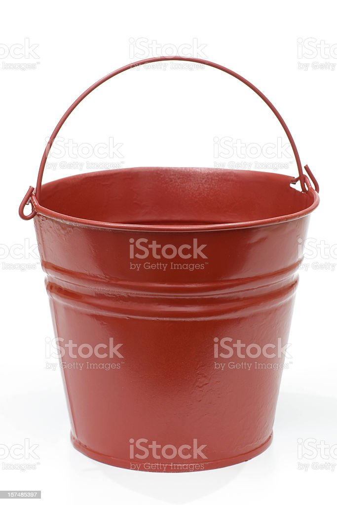 red metal pail stock photo