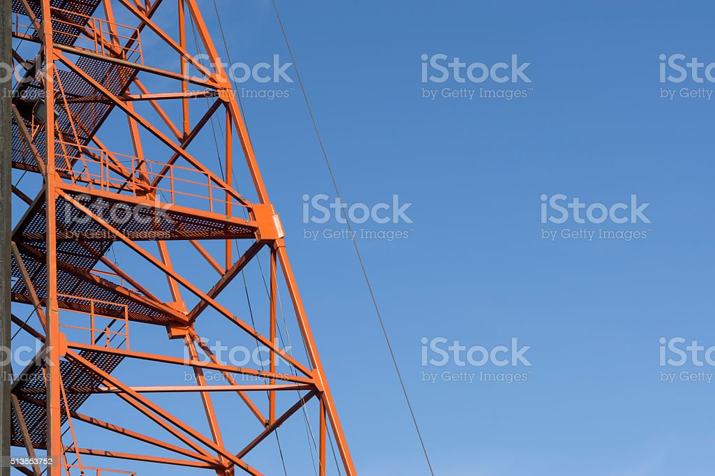 Red Metal Scaffolding stock photo