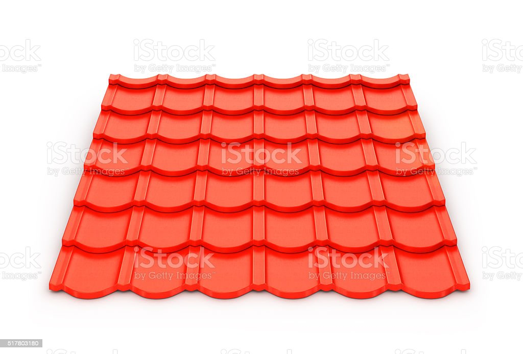 Red metal tile sheet isolated on white background. stock photo