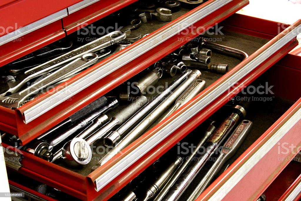Red, metal toolbox drawers with sockets, wrenches. Workshop, mechanic. royalty-free stock photo