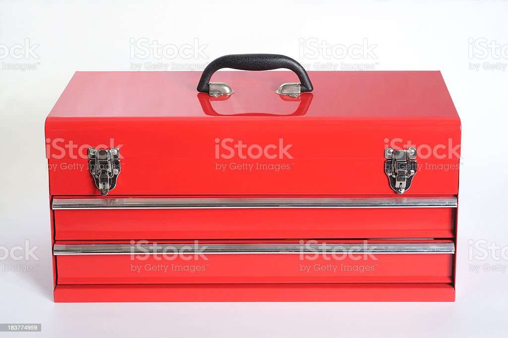 Red metal toolbox stock photo
