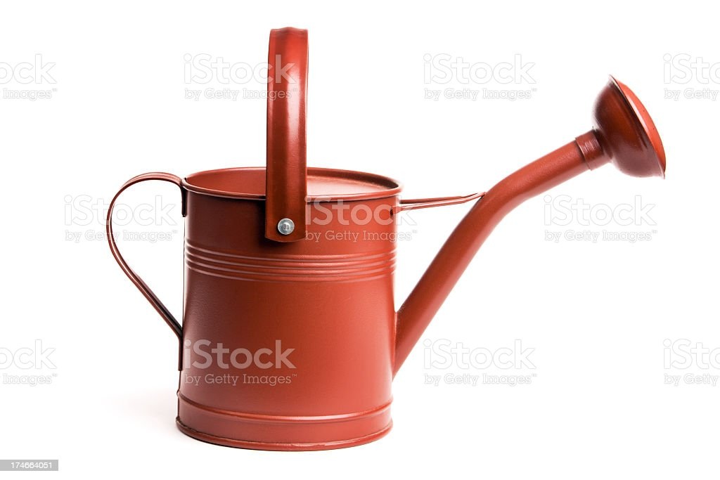 Red Metal Watering Can, Old-fashioned Gardening Equipment Isolated on White stock photo