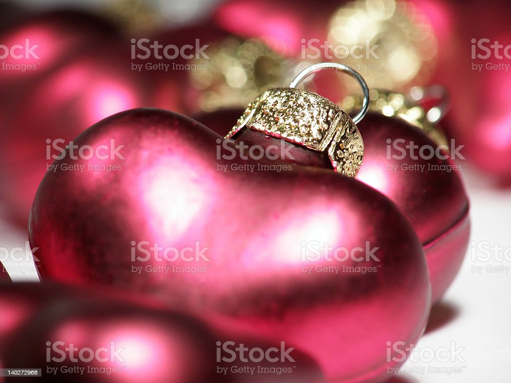 red metallic Christmas hearts royalty-free stock photo