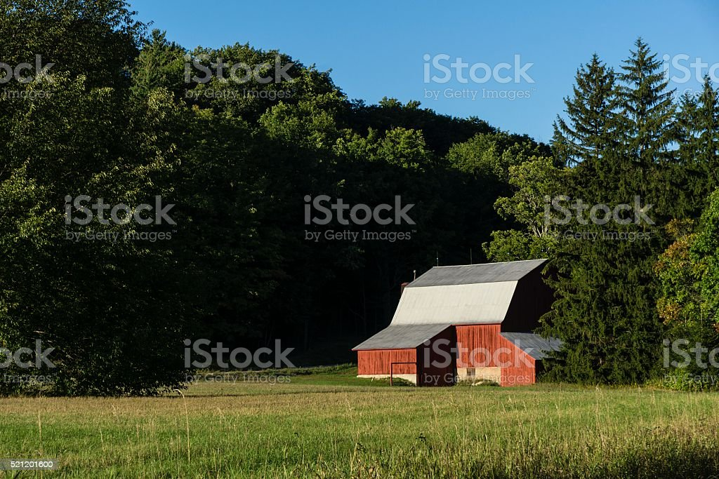 Red Michigan Barn in Autumn stock photo