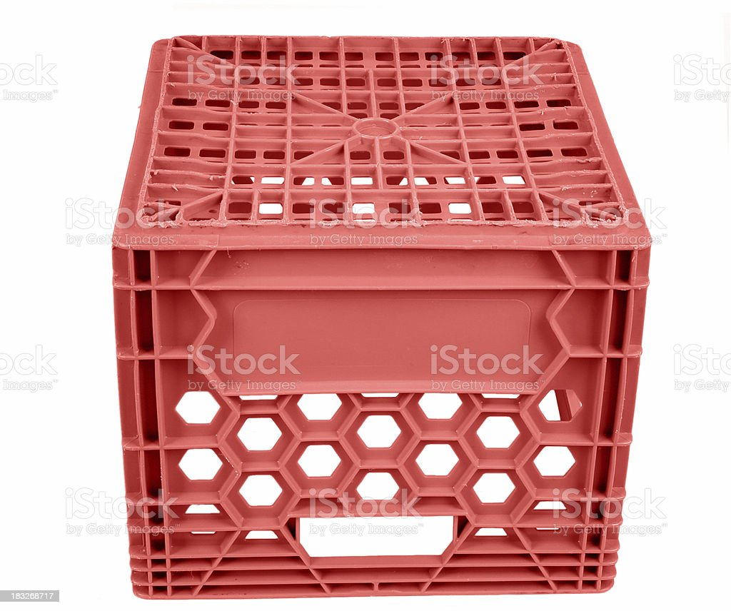 Red Milk crate to sit on royalty-free stock photo